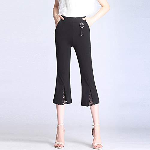 Flare-hosen-anzug (Haowen Frühling und Sommer Frauen Split Spitze Flare Hosen hohe Taille Anzug Hosen büro Frauen Hosen Hosen,Schwarz,L)