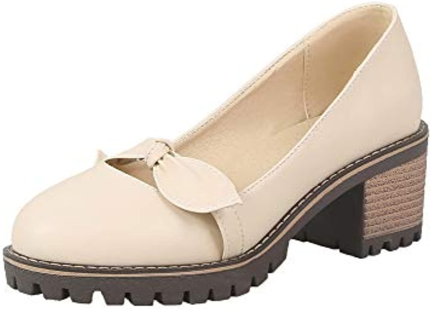 e4ba37cb8663 AalarDom Women s Women s Women s PU Pull-On Round Closed Toe Solid Pumps- Shoes