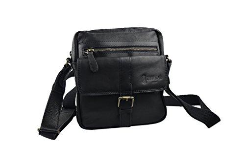 Zerimar Sac à bandoulière unisexe cuir souple et de multiples poches Mesures: 28X22X7 Noir