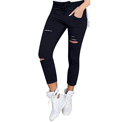 Abbigliamento Donna Pantaloni Casual tagliuzzati Nove Pantaloni-Skinny a Vita Alta Casual Elastico Lunghi Slim Tagliuzzati-Plus Size Jeans Moda Estate Pantalone(Nero,3XL)