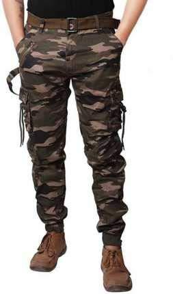 Kart Trade Men's Cotton Cargo Pants with Belt (28, Camouflage)