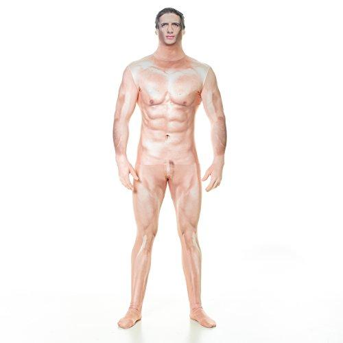 Morphsuits MLFRCSX - Realistische Zensiert Nackt Mann Morphsuit Erwachsene Kostüme XL 5 Zoll 9 - 6 Zoll 1, 180 cm - 186 cm, XL, (Halloween Kostüme Realistische)