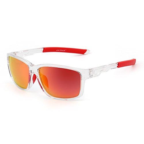 Sport Sonnenbrille Spiegel Wrap Around Fahren Angeln Damen Herren(Transparent/Rot) ()