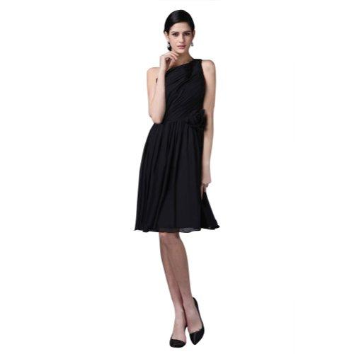 Sunvary One-Pantaloncini da donna in simil Chiffon spalla abito da sera con Cocktail, motivo: fiori Black