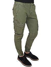 f47400bde8933 Evoga Pantaloni Uomo Cargo Verde Militare Slim Fit Jeans con tasconi  Laterali