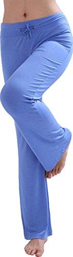 HOEREV Doux Modal Minceur Lounge Pantalon yoga pantalon de pyjama femmes Pant bleu clair