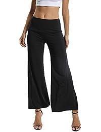 FITTOO Pantalon Femme à Bas Evasé Palazzo Large Jambe Taille Haute Lâche  Amincissant Sport Yoga Fitness 6e7b93c2b9b9