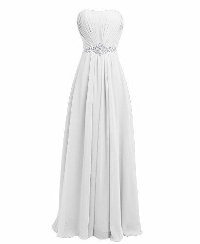 Fashion Plaza chiffon lange Trägerlosen Abendkleid mit einer schönen Gürtel Modul D004 (EU36, Weiß)