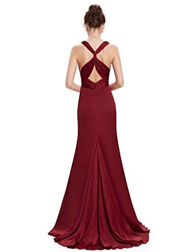 Ever Pretty Damen V-Ausschnitt Rueckenfrei Lange Chiffon Abendkleider 09008 Burgundy