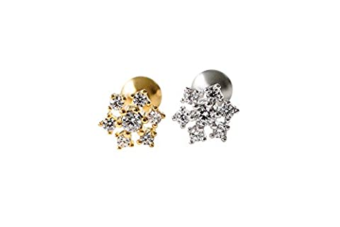 CZ Fahsion Körperschmuck Edelstahl 16g 16Gauge Cartilage Daith Tragus Helix Indutrial Barbell Fest Zarte Blumenblumen-Stern-Konstellations-Shaped Snowflake Ohrstecker Piercing Ohrringe-LI