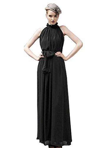 ERGEOB Damen Sommer Kleid Elegante Cocktail Party Floral Kleider Maxi ärmellosen Chiffon Abendkleid Strandkleid Schwarz - Schwarz Chiffon Maxi