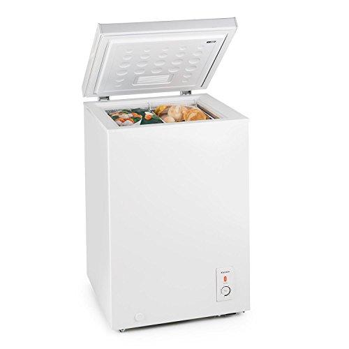 Klarstein Iceblokk 100 Gefriertruhe Tiefkühltruhe (100 Liter, Tiefkühltemperatur zwischen -15 und -26 °C, 75 Watt, 42 dB leise, Bodenrollen ) weiß