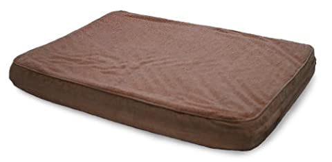 FurHaven Pet NAP Frottee- und Wildledermatte mit luxuriösem, orthopädischem Hundebett (68,58 x 91,44 cm), Large, Espresso