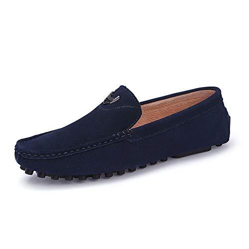 Casual Suede Shoe Driving Loafer für Männer Boot Mokassins Slip On Style Wildleder feine Textur einfache Reine Farbe Herren Sneaker (Color : Blau, Größe : 43 EU) -