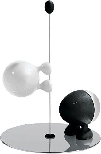 Alessi Asg02 Bw Lilliput Service Sel et Poivre en Résine Thermoplastique, Noir et Blanc et Base en Acier Inoxydable 18/10 Poli Brillant