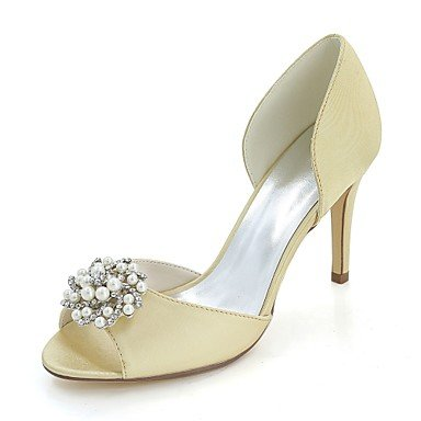 Wuyulunbi@ Scarpe donna raso Primavera Estate della pompa base scarpe matrimonio Stiletto Heel Peep toe Strass imitazione perla per il ricevimento di nozze e la sera. Oro