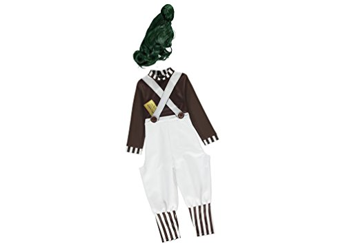 Offizielles Lizenzprodukt Oompa Loompa Fancy Kleid Kinder Charlie und die Schokoladenfabrik Roald Dahl Kostüm Alter 9–10Jahre mit Grün Perücke. Hergestellt unter Warner Bros. Lizenz für die George Kollektion