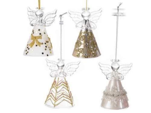 Gruppo maruccia angeli natalizi in vetro decorazione per albero di natale confezione da 4 pezzi