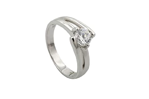 9ct White Gold & Cubic Zirconia Split Shank Crossover Solitaire