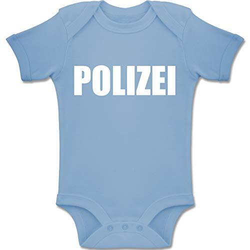 Faschingkostüm Polizei Zubehör - Shirtracer Karneval und Fasching Baby - Polizei Karneval Kostüm - 3-6 Monate - Babyblau - BZ10 - Baby Body Kurzarm Jungen Mädchen