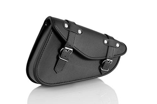 Customacces AP0003N Detroit Leather Saddlebag Left Side for Harley Davidson Sportster, Kawasaki Vulcan S, Black, Size
