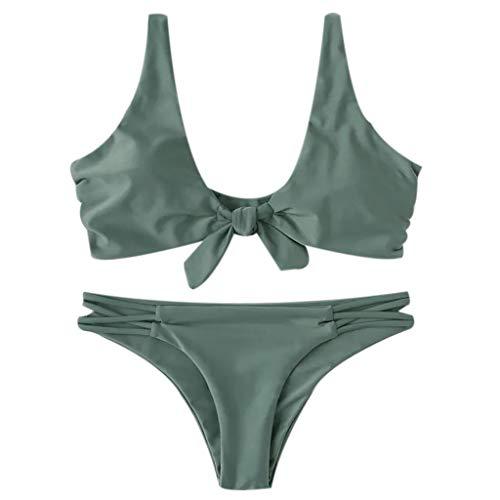 Lazzboy Frauen Drucken Tube Bis Zwei Stück Bikini Push-up Badeanzug Bademode Beachwear Damen Gepolsterte Set, Einfarbige Verknotete Niedrige Taille Tanga Sommer(Grün,M) -