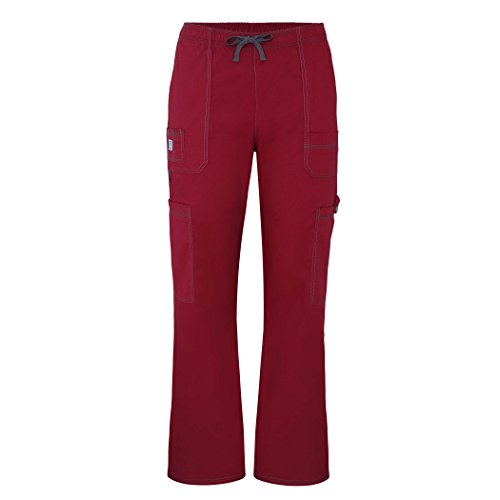 Groß Flare Scrubs Hose (Adar pop-stretch Herren 7-pocket Cargo Pants Gr. Large, wein)