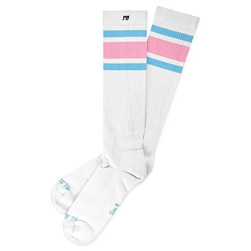 nd Hi | Hohe Retro Socken mit Streifen | Weiß, rosa & Blau gestreift | kniehoch | stylische Unisex Kniestrümpfe Größe L (43-46) ()