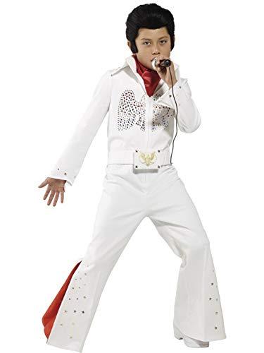 Kostüm Kind Eagle - Fancy Ole - Jungen Boy Kinder Elvis The Eagle Kostüm mit paillettenbesetztem Overall Einteiler und Halstuch, perfekt für Karneval, Fasching und Fastnacht, 122-134, Weiß