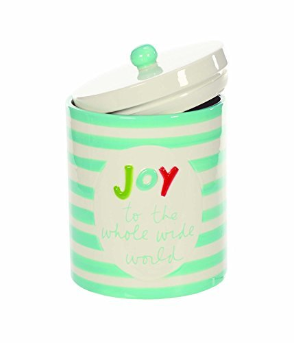 Blau Gestreift Joy To The World 12,7x 15,2cm Keramik Christmas Cookie Jar Container