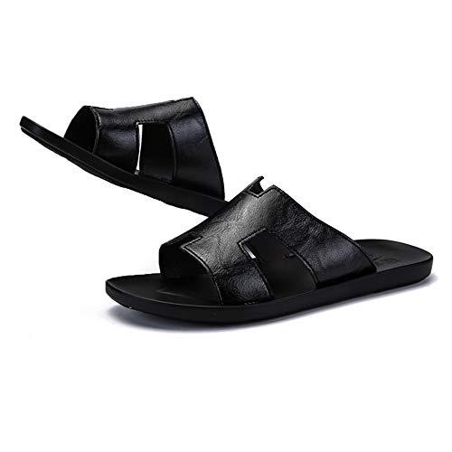 Lixizhong personalità estiva infradito antiscivolo sandali e ciabatte da uomo pantofole trend fashion scarpe da spiaggia sandali in pelle casual (colore : nero, dimensioni : 40)