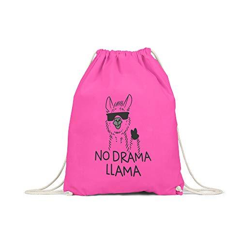 licaso Turnbeutel Bedruckt No Drama Llama Print in Pink Gym Bag Kordel Sunglass Sonnenbrille Druck Ökologisch & Nachhaltig 100% Baumwolle