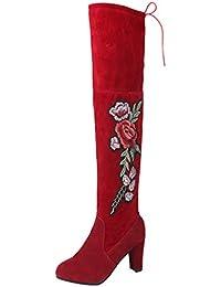 6d51f09acd24 Dooxii Femmes Hiver Embroider Genou Haute Bottes Mode Talon épais Cuissardes  Bottines Longue