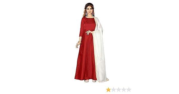 0ed7199e8a52 Shlok Enterprise Women's Taffeta Silk Anarkali Salwar Suit Set (Gowns, Red,  Free Size): Amazon.in: Clothing & Accessories