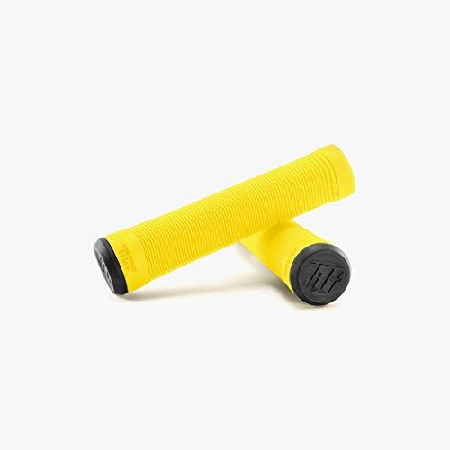 Tilt flangeless Stunt-Scooter Grips / Bmx Griffe 135mm + fantic26 Sticker (Gelb)