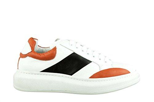 RIPA Sneaker Obermaterial Leder, Boden Gummi Bianco/Arancione/Nero