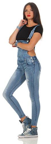 5070 Fashion4Young Damen Jeans Latzhose Röhrenjeans Latzjeans Slimline Damenlatzhose Blau