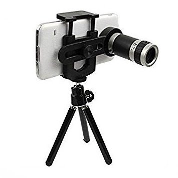 Teconica R-8X Xtra Zoomer 8X Optical Zoom Telescope Mobile Camera Lens Kit with Tripod and Adjustable Holder Compatible with All Android, iOS & Windows Device (Assorted Colour)