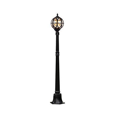 Retro Außen Mastleuchten Höhe 1.4M Schwarz Rund Wegeleuchte Aluminium und Glas Lampenschirm Vintage Gartenlampe Balkonleuchten Terrassenlampen Rasen Garten Straßenleuchte