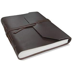 Indra handgemachtes Ledernotizbuch Braun, Seiten aus 100% Baumwolle, Frei Baumwolle Geschenktüte (15cm x 20cm)