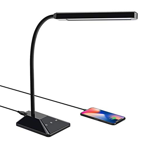 Lampe de Bureau LED, VicTsing 48 LED Lampe de Table 8W Dimmable 5 Modes de Couleur x 5 Niveaux de Luminosité Réglable avec Port USB [Protection des Yeux, Contrôle Tactile, Économie d'énergie]
