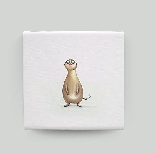 Kinderzimmer Bilder/ Leinwandbild - ERDMÄNNCHEN ALEX - Bilder/ Tierbilder Babyzimmer/ Lustige Wandbild mit Erdmännchen Motiv/ Hochwertige Kunstdrucke auf Leinwand. Einzigartiges Design. (Bilder Von Alex)