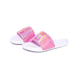 Hype Aurora Sliders Pink & White Kids/JNR/Adults (UK 03, Pink)