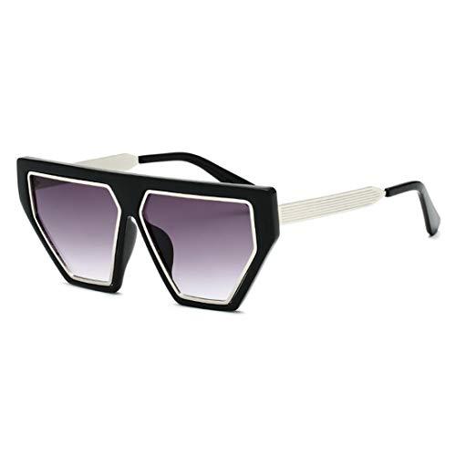 Easy Go Shopping Sonnenbrillen der Frauen-Metallrunde Rahmen-Sport-Sonnenbrillen, die Urlaubsreisen Fahren. Sonnenbrillen und Flacher Spiegel (Farbe : Grey)