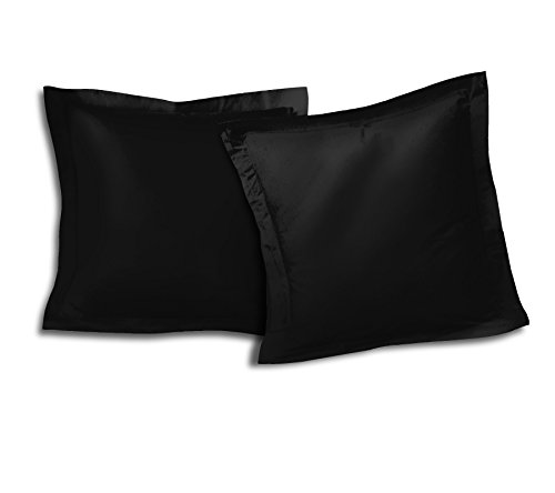 Home Passion Lot De 2 Taies d'oreiller Volant Plat Piqué 57 Fils Coton, Noir, 63x63 cm
