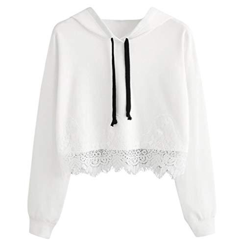 Moginp Damen Kapuzenpullover,Spitze Frauen Langarm mit Kapuze Hoodie Sweatshirt Pullover Tops Bluse Outdoor Bekleidung (S, Weiß) -