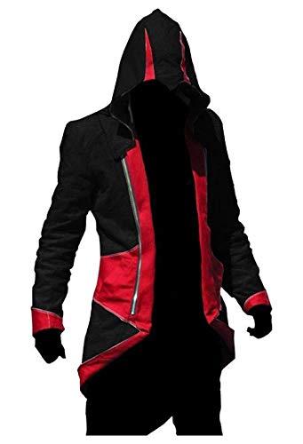 te Jacke - Mann - Glaube - Creed - Attentäter - Verkleidung - Assassin - Cosplay - Halloween - Karneval - Cosplay (schwarz und rot Größe XXL) ()