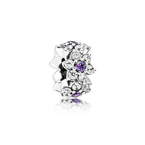 Pandora Damen-Bead-Zwischenelement Vergissmeinnicht 925 Silber Zirkonia lila-791834ACZ