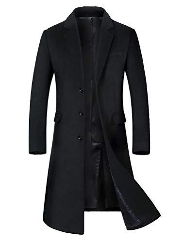 Wolle Barn Mantel (Mordenmiss Herren Lange dünne Peacoat Wintergesch ft Wolle Blazer Herren Trench Coat Mittel Style 2 Schwarz)