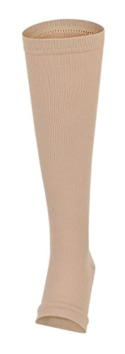 Eozy 1 Paar Unisex Kompressionsstrümpfe Ohne Spitze Herren Damen Kniestrümpfe Kompression Socken Hautfarbe L 36-44